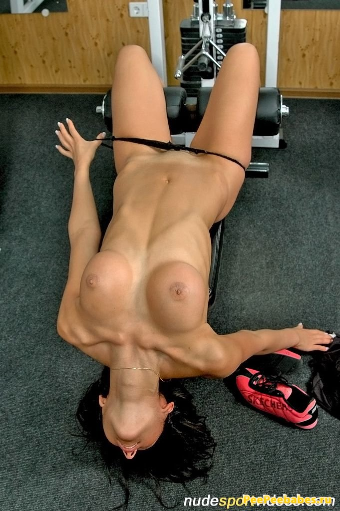 Special exercises workout for five nude gymnasts